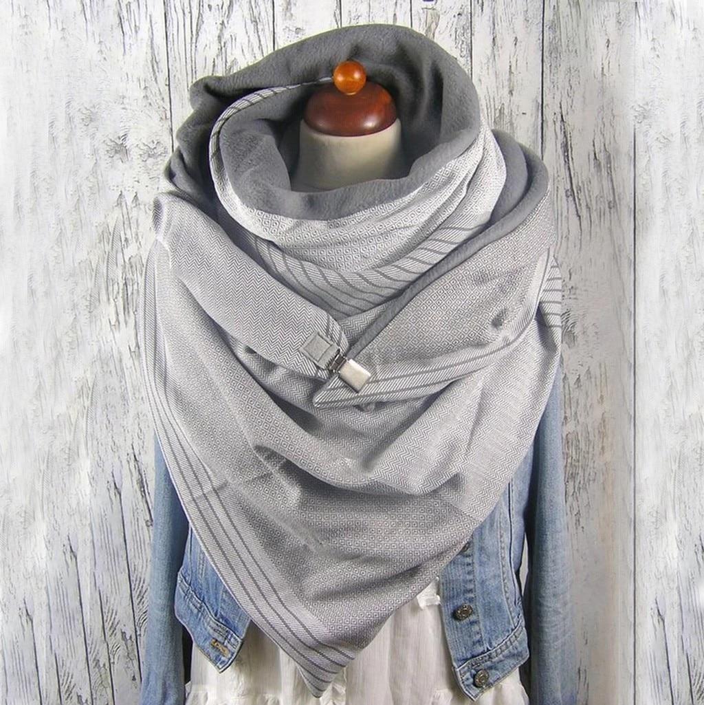 Fashion Women Soild Dot Printing Button Soft Wrap Casual Warm Scarves Shawls Scarf Women