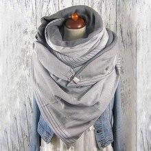 Fashion Women Soild Dot Printing Button Soft Wrap Casual Warm Scarves Shawls