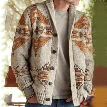Men Autumn Casual Coat Oversize 4XL Long Sleeve Jacquard Weave Button Sweater Cardigan Fashion Jacket Warm Clothes For male image