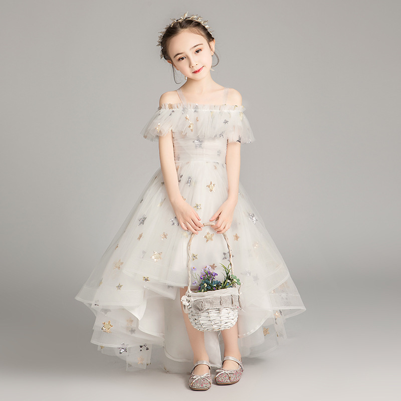 Children's Yarn Dress Princess Party Dresses Girls Star TUTU Host Piano Performance Dress Colorful Kids Wedding Vestido GDR734
