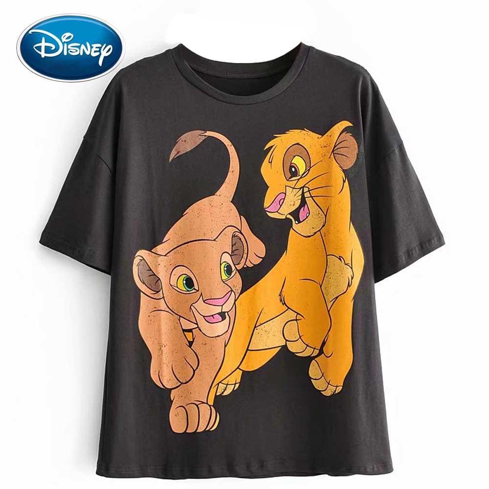 Disney Stylish The Lion King King Of The Jungle Cartoon Print T-Shirt O-Neck Pullover Short Sleeve Casual Fashion Women Tee Tops