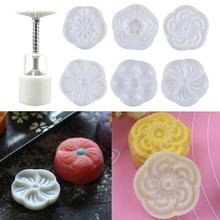Hand Pressing Moon Cake Mold Set Flowers Mung Bean Cake Baking Mold 50g Stereoscopic Moon Cake Mold