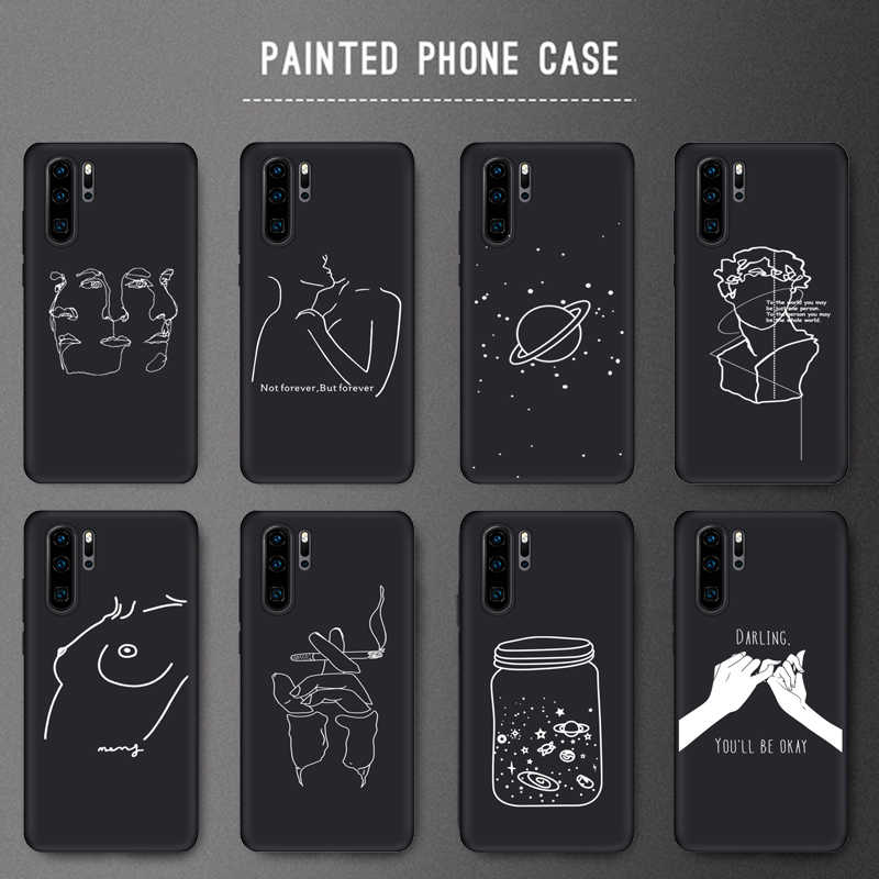 Creative Design Girl Soft Black TPU Silicone Cases For Huawei P20 Lite P20 Pro P30 Phone Case For P20Lite Honor 10 20 Matte Case