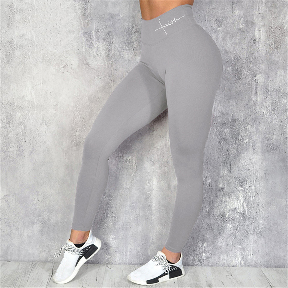 Black Sport Leggings For Fitness Women High Waist Plus Size Workout Gym Pants Slim Push Up Elastic Letters Print Legging