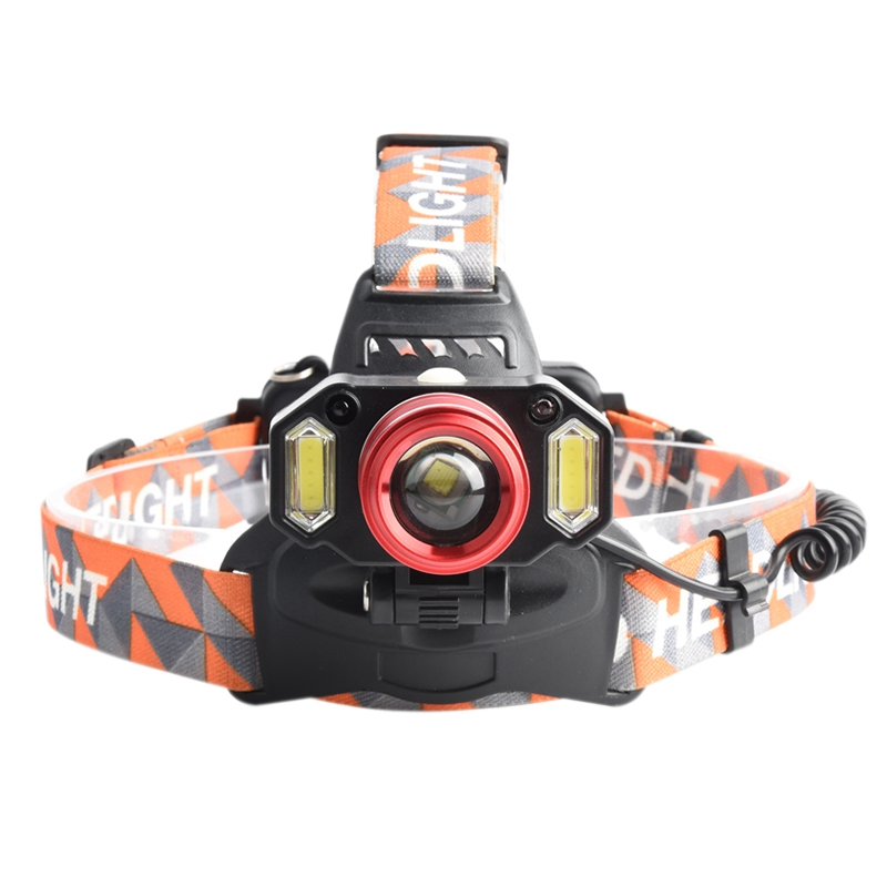 head light lamp Strong Cob / T6 Focusing System Head-Mounted Rechargeable Flashlight Eu Plug