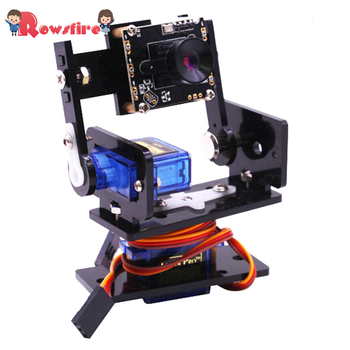 Camera Module Smart Vision Sensor Pan-Tilt Kit with 2 Pcs Micro Servos Smart Robot HD Camera for Raspberry Pi-Camera/Single PTZ