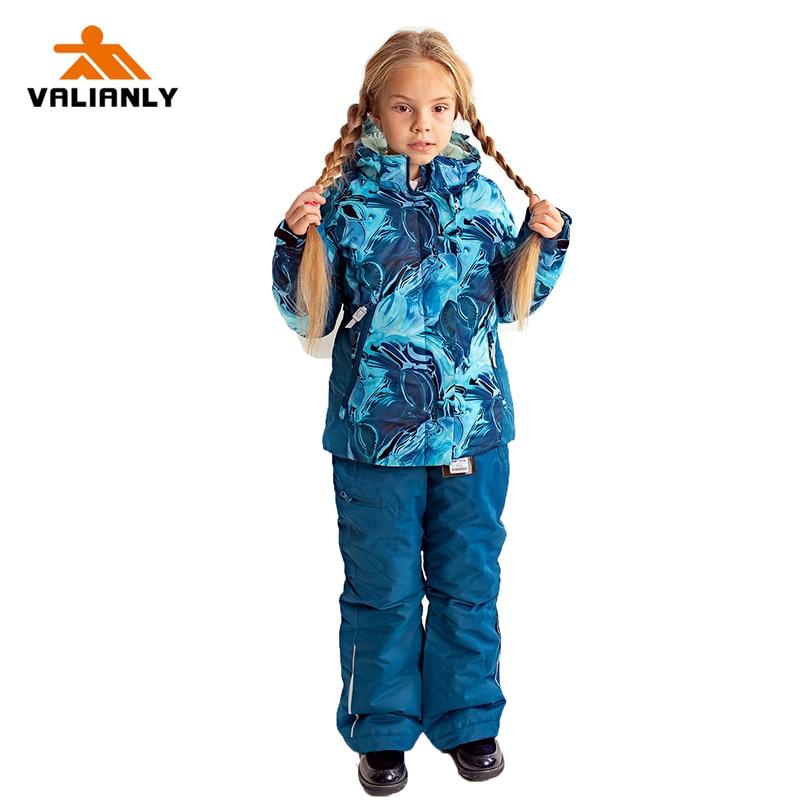 2019 Kids Girls Snowsuit Winter Ski Suits Outdoor Snow Sets Ski Jacket Pants 2 Pieces Girls Snowboard Sets Waterproof Windproof