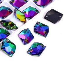 24pcs AAAAA Quality Cosmic Glass Sew On Rhinestones 13x17mm Heliotrope Color Crystal Sewing Strass for DIY Wedding Dress B1316