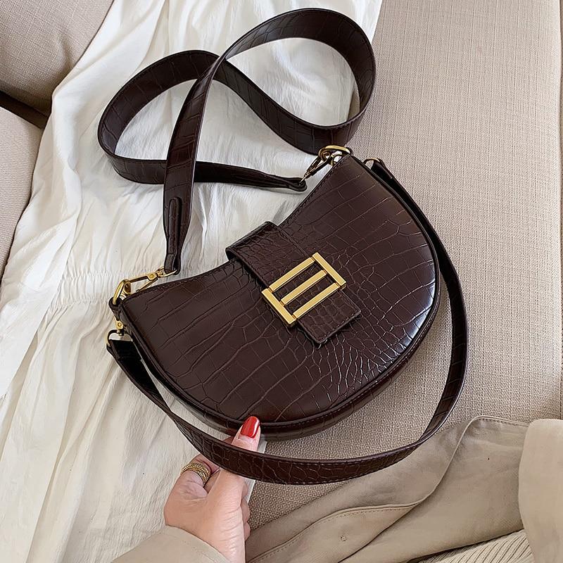 Stone Pattern PU Leather Crossbody Bags For Women 2020 Solid Color Shoulder Messenger Bag Female Handbags Saddle Bag