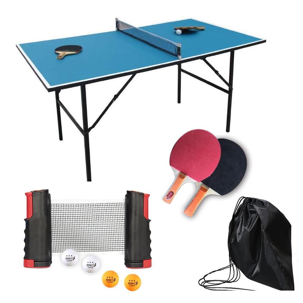 Portable Ping Pong Table Tennis Racket 1.9M Telescopic Net 4 Balls Rack 1 Pair Table Tennis Rubber Paddle Pingpong Training Set