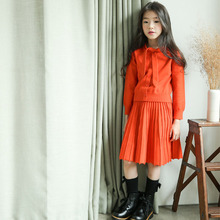 2019 New Fashion Girls Clothes Princess Cute Red Solid Long Sleeve Top+ Dress 2PCS Children Girls Clothing Suit for 6-16Y