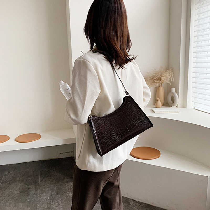 Bolso de cocodrilo para mujer, bolsos de hombro de diseñador de lujo, bolsa con piedra de cuero pu para mujer, bolsos de Baguette Retro
