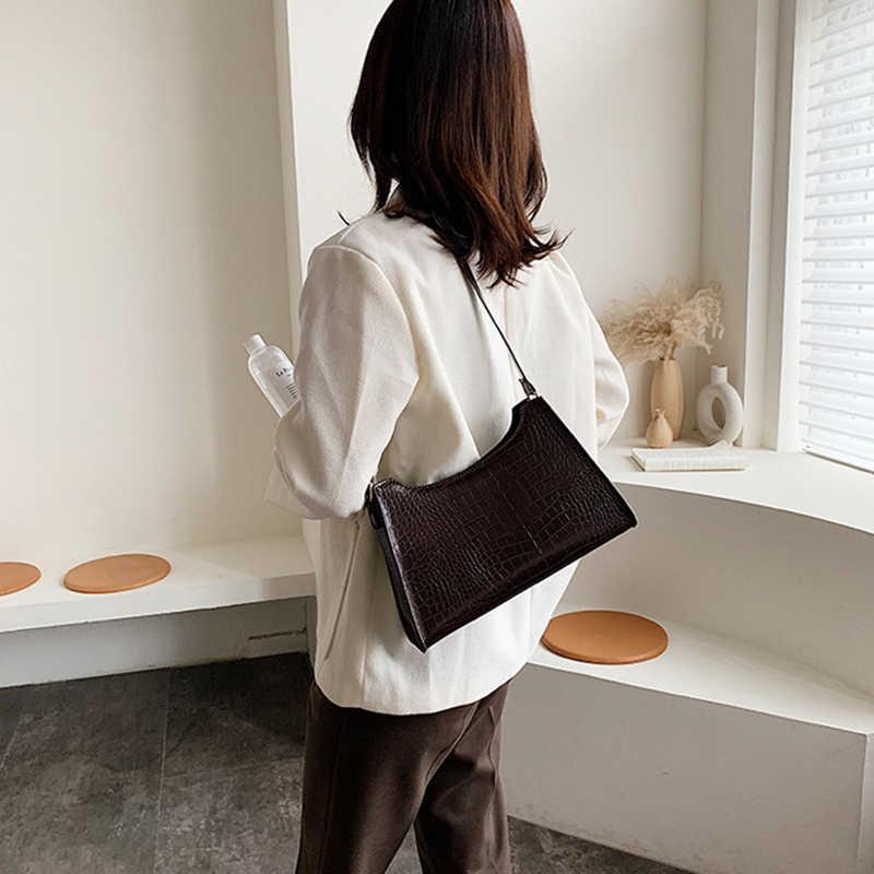 Wanita Buaya Tas Desainer Mewah Tas Bahu Wanita Kulit Pu Batu Kantong Dompet Retro Baguette Tas Bahu