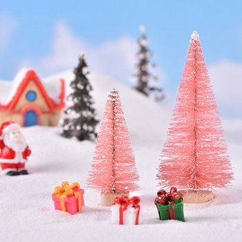 1Pcs Small DIY Christmas Tree Fake Pine Tree Mini Bottle Brush Christmas Tree Santa Snow Frost Village House image