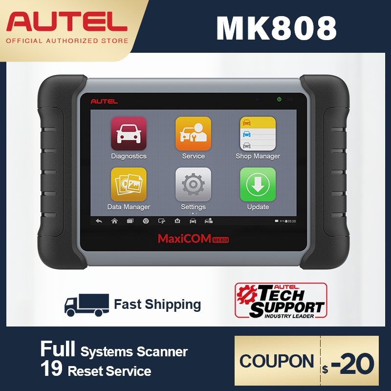 US $454.2 21% OFF|Autel MaxiCOM MK808 MX808 Automobile Diagnostic Tool All System Key Programming OBD2 II Scanner ABS SRS as MD802 + MaxiCheck Pro|Engine Analyzer| |  - AliExpress