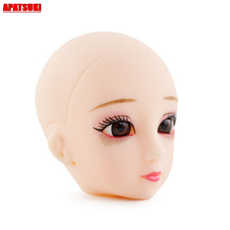 1pc Soft Plastic DIY Doll Head For 1//6 BJD Doll/'s Practicing Head Without Hair