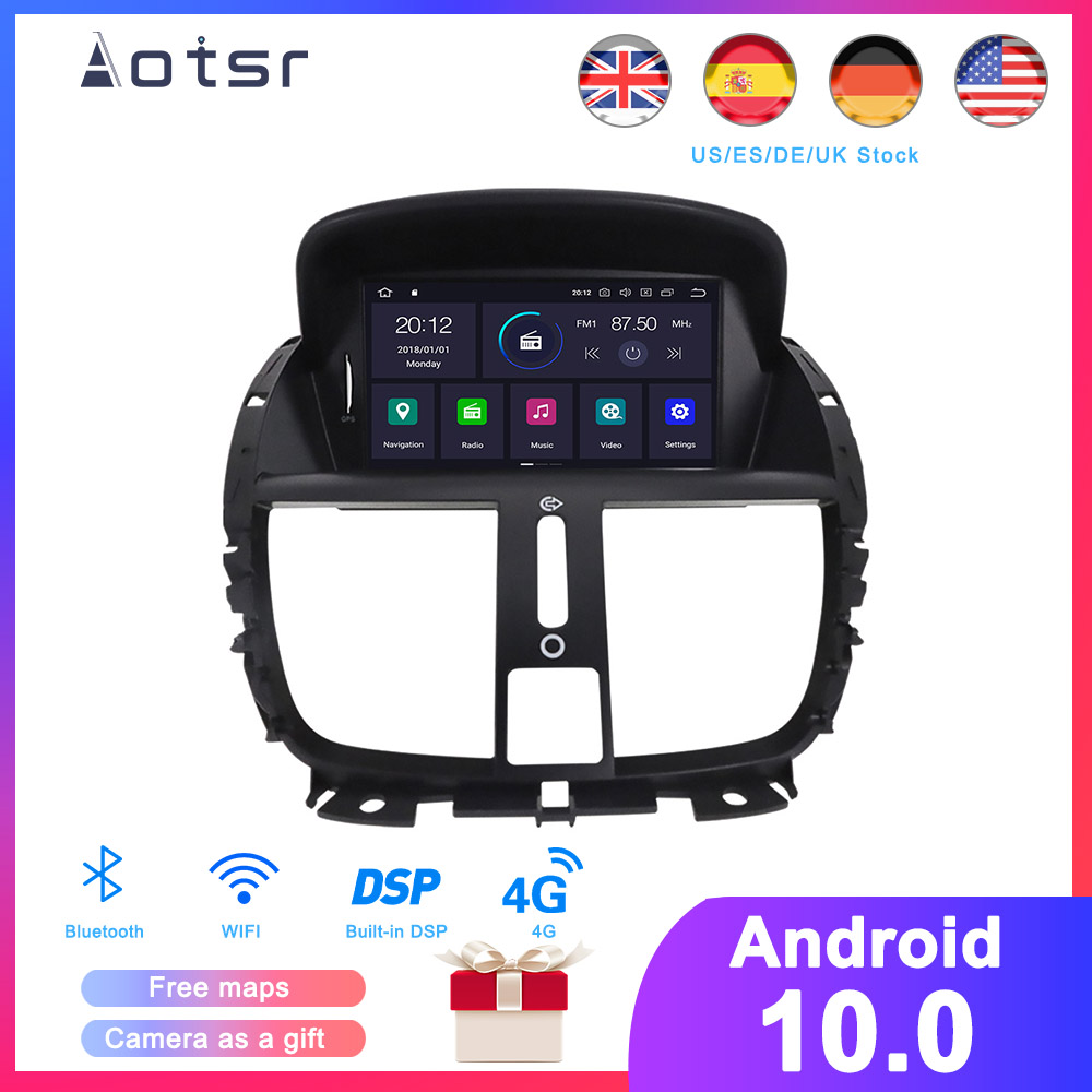 DSP Android 10.0 Car GPS Navigation DVD Player For Peugeot 207 2008-2014 Auto Stereo Radio Multimedia Player Head Unit Recorder