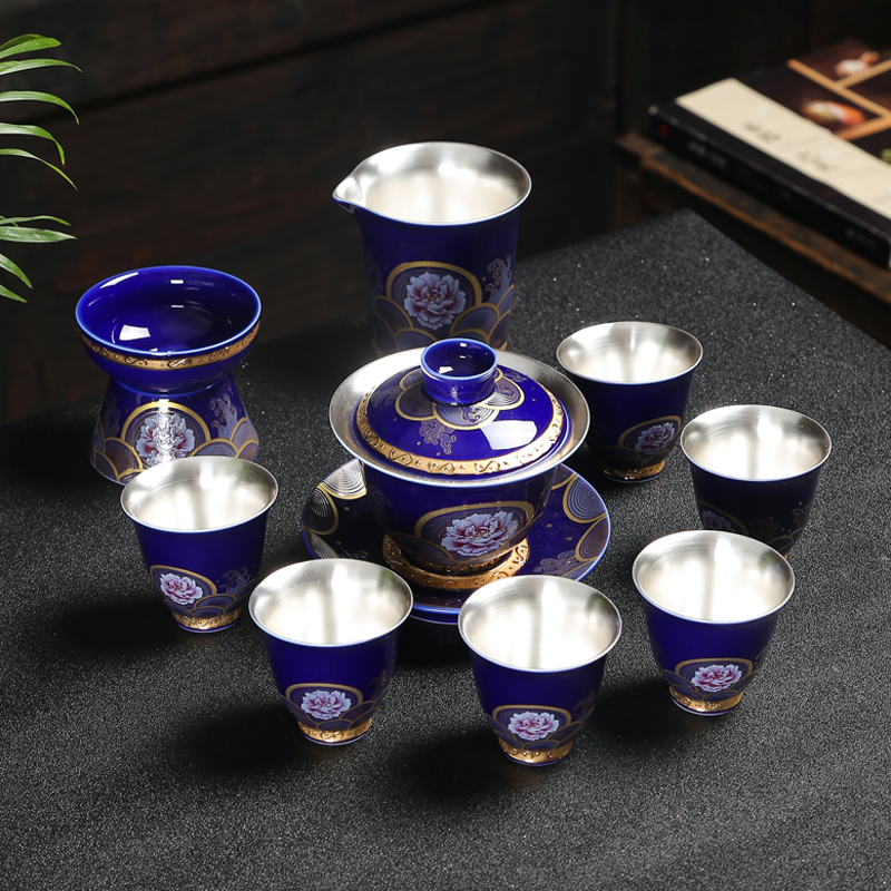 Jingdezhen Enamel Tea Set Set Sterling Silver Kung Fu Tea Set Set Silver Cover Bowl Ceramic Household Gift Box