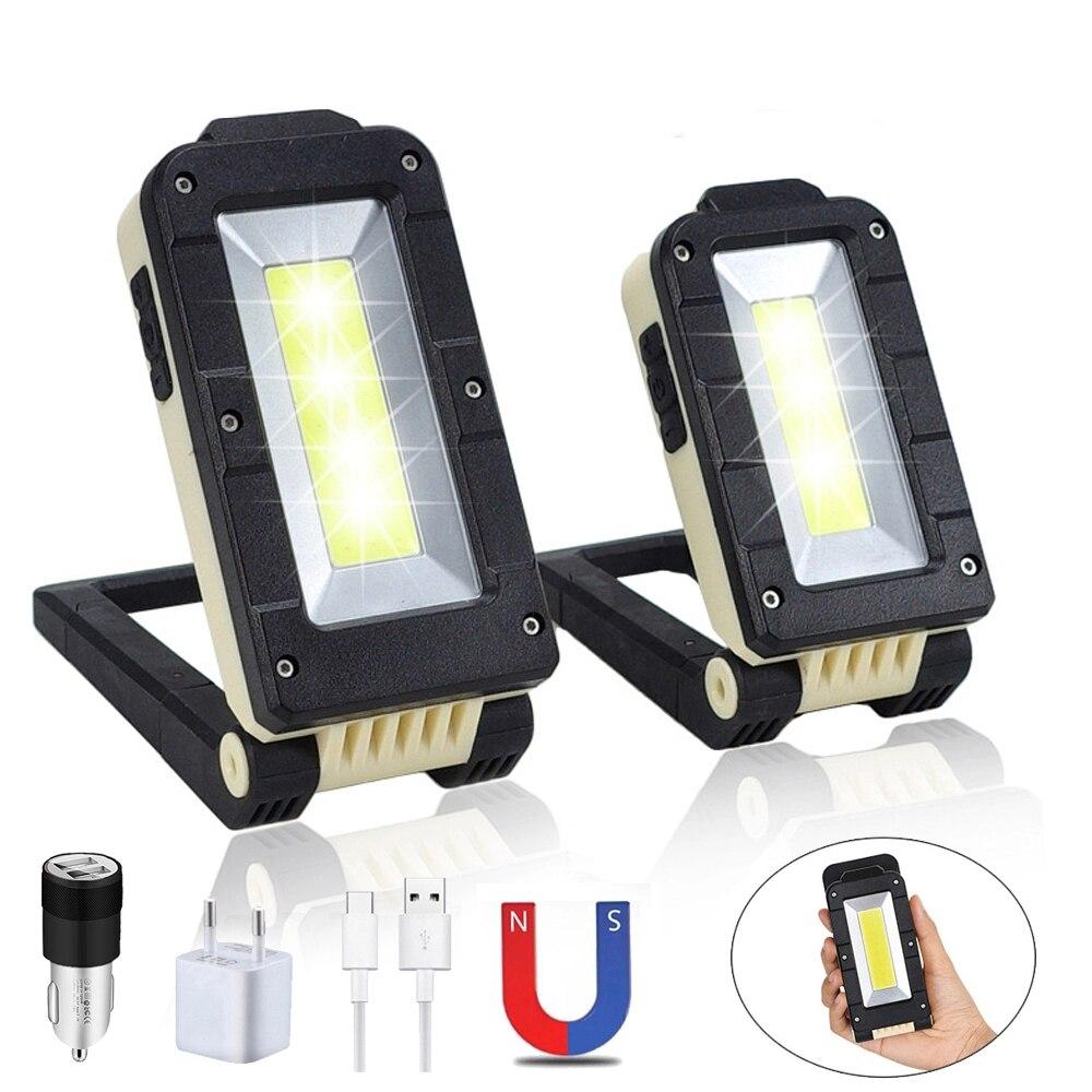 USB Flashlight COB LED Work Light Rechargeable Flashlight 180 Degree Adjustable Portable Light Bottom Magnet Camping Led Light