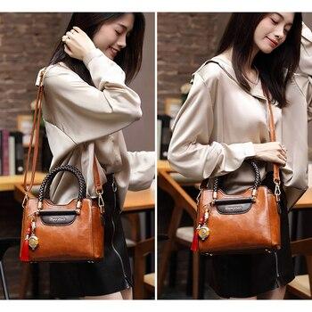 Leather bag Women's bag 2020 New Fashion full-length oblique bag Ladies' Atmospheric handbag one shoulder bag
