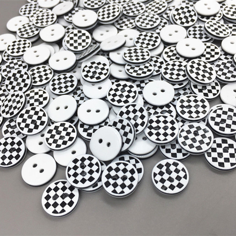DIY 200X Black and white checkered Round Resin buttons Sewing Scrapbooking 13mm|Buttons| |  - AliExpress