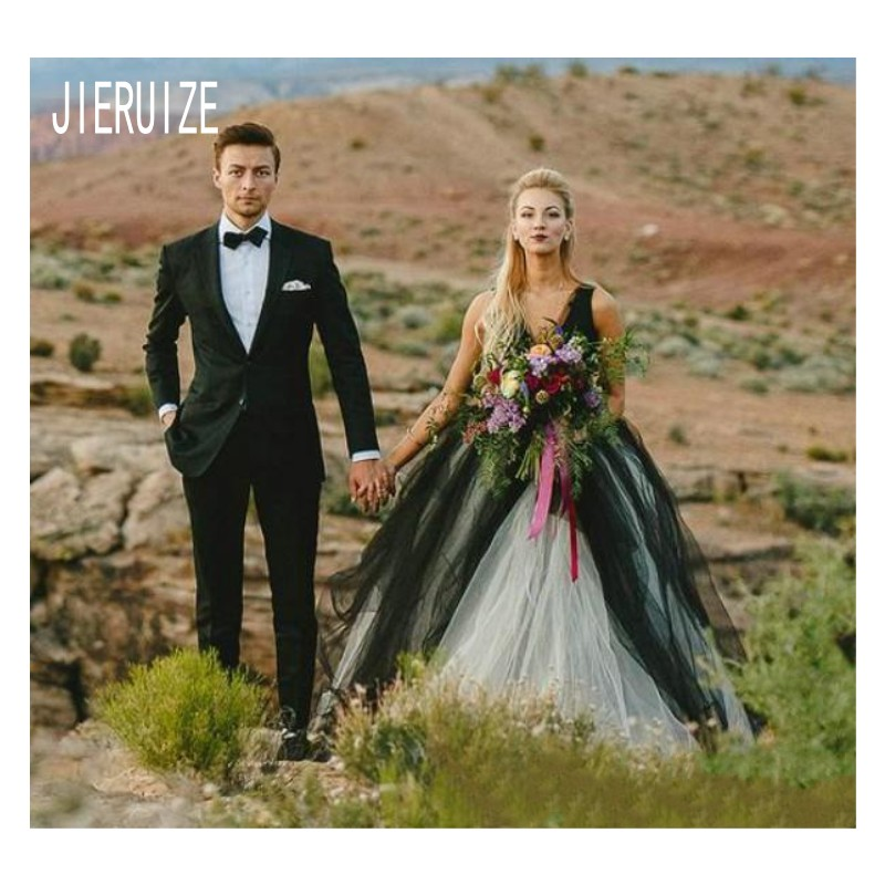 JIERUIZE Black And White Tulle Wedding Dresses V Neck Sexy Backless Long  A Line Bridal Gowns robe de mariee Wedding Gowns