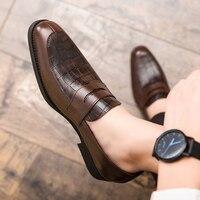 Männer Casual Schuhe Herbst Leder Loafer Büro Kleid Schuhe Für Männer Fahren Mokassins Komfortable Slip auf Party Mode Schuhe Mann