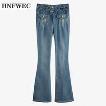 Niebieski plisowany Split Joint długi dżinsowy jeansy rozkloszowane nowy wysokiej talii luźne spodnie damskie moda wiosna jesień 2020 U251 tanie tanio HNFWEC COTTON Poliester Kostki długości spodnie Osób w wieku 18-35 lat Streetwear Plaid Wysoka Zipper fly Kieszenie Fałszywe zamki