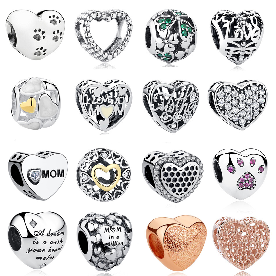 ELESHE 925 Sterling Silver Forever Heart Charm Beads Fit Original Pandora Charm Bracelet Silver 925 Love Beads Jewelry Making