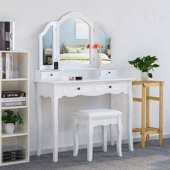 Dressing Table With Stool Make up Table Dressing Table Bedroom Furniture Cosmetic With 3 Mirrors 4 Drawers