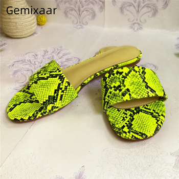 Sexy Serpentine Genuine Leather One-strap Slides Chic Summer Sandy Beach Shoes Slip-on Outwear Flat Slippers Women