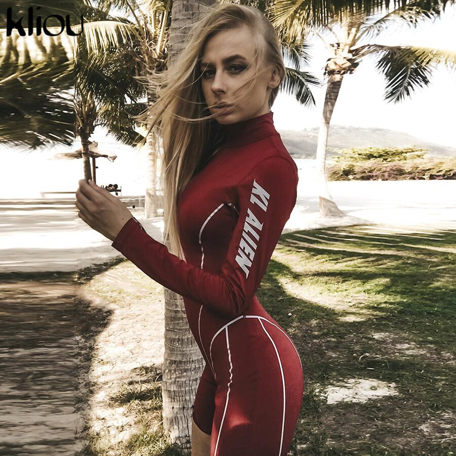 Kliou 2019 Women Fashion Sportswear Skinny Playsuit Turtleneck Full Sleeve Bodysuit Back Zipper Striped Letter Print Slim Romper
