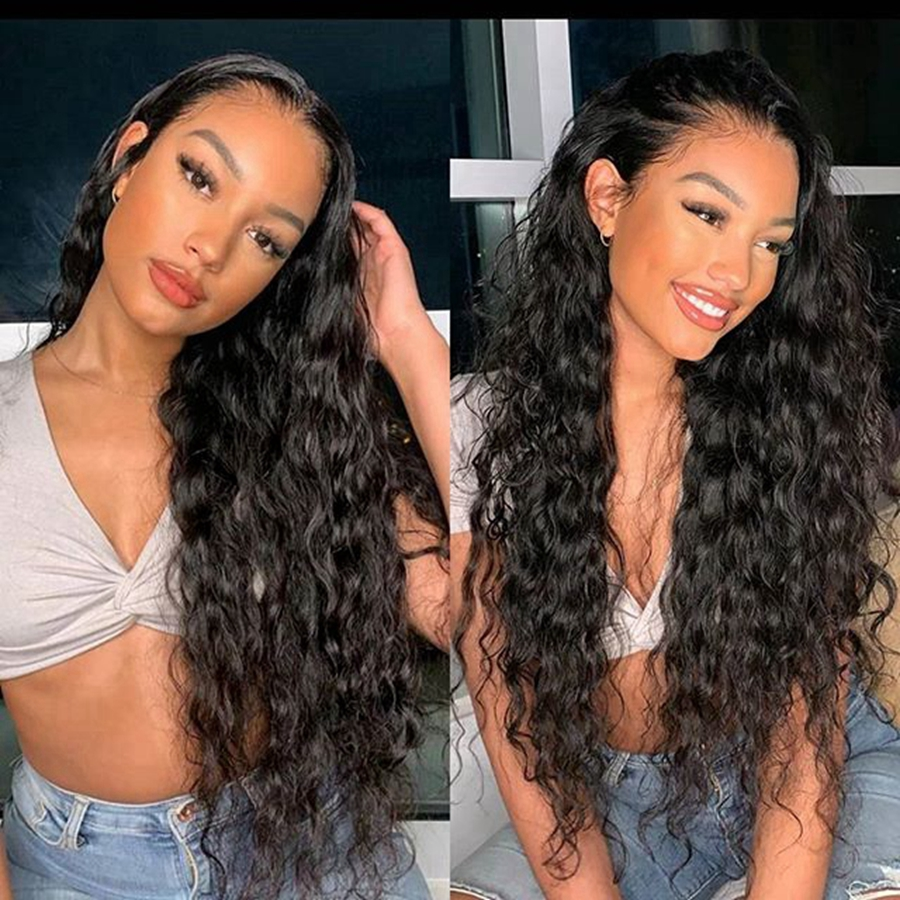 180Density Loose Water Wave Human Hair Full Lace Wigs Pre Plucked Hairline Loose Wave 13x6 Lace Front Wigs for Women Bleach Knot(China)