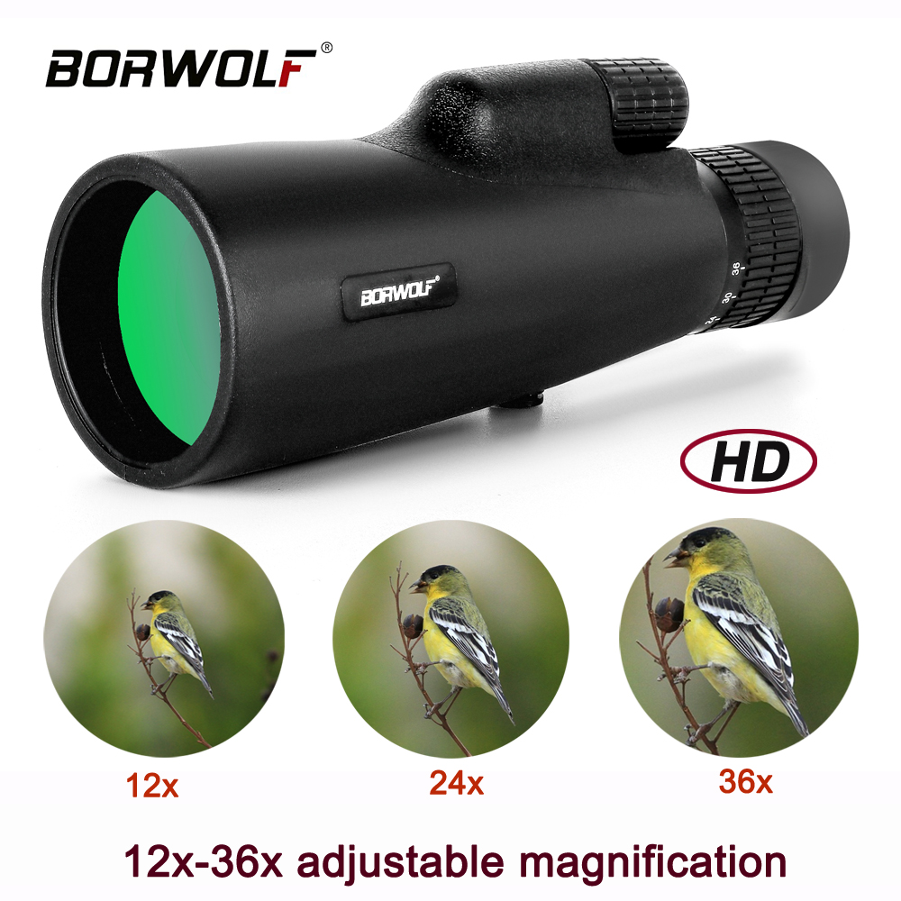 Borwolf 12-36X50 Monocular HD Light Night Vision Bak4 PrismTelescope with Phone Clip Tripod Waterproof Binoculars for hunting