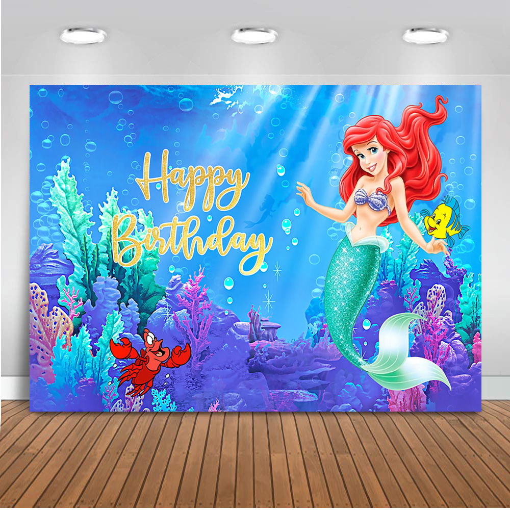 Photography Backdrop Girls Little Mermaid Customize Party Decoration Under The Sea Birthday Theme Background For Photo Background Aliexpress