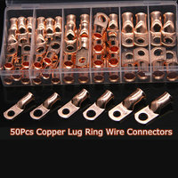 50Pcs AWG lug terminals Wire Ring Terminal Connectors Terminals Set Copper 8, 4, 2, 1, 1/0 AWG
