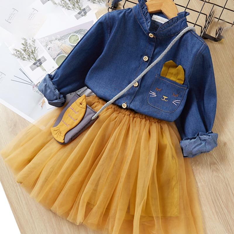 Menoea Children Clothing Suits 19 Autumn Fashion Style Girl Cowboy Long-Sleeve Mesh Dress Design For 3-8Y Kids Girls Sets 18