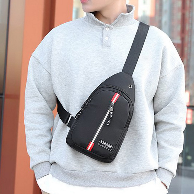 WENYUJH Crossbody Bags Male Casual Men's Chest Pack USB Charging Shoulder Bag Large Capacity Messenger Bag 2020
