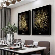 Ciudad moderna Mapa de arte de la lona de pintura abstracta mapa afiche a Estocolmo/MELBOURNE/Praga/AMSTERDAM/Roma/PAR de impresión de cartel a prueba de agua