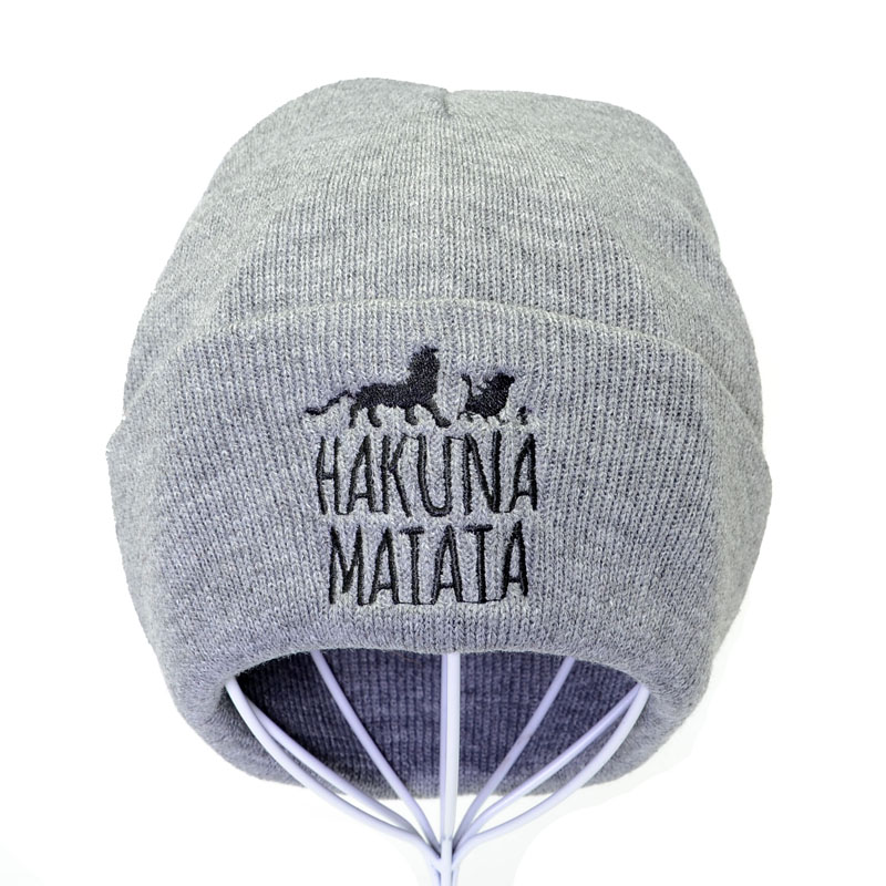 Men Funny Beanie Lion King Knit Hat Winter Warm Women Knitted Hat Hakuna Matata Cool Black Skullies Embroidery Hip Hop Cap