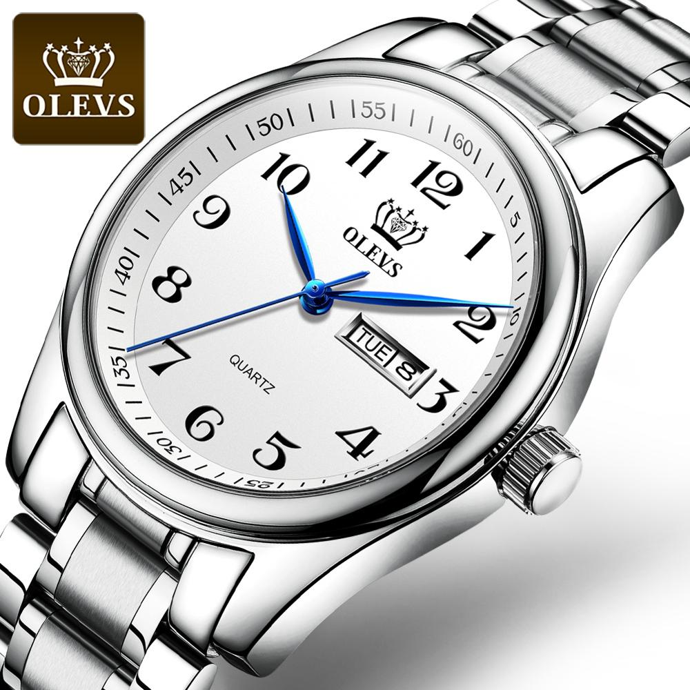 OLEVS Original Genuine Ladies Watch For Women Waterproof Fashion Noble Elegant Stainless Steel Strap Date Gifts For Women Golden