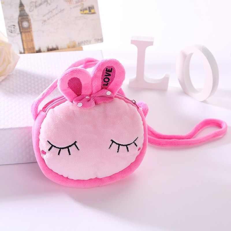1Pcs Mode Mini Hand Nähen Kinder Geneigt Schulter Tasche Plüsch Rucksäcke Cartoon Nette Doppel-deck Infant Doppel-reißverschluss tasche
