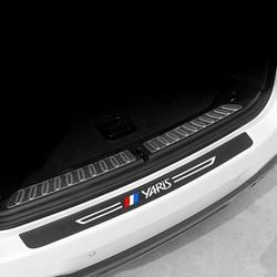 Car Trunk Bumper Protector Carbon Fiber Leather Sticker For Toyota Yaris 2019 2020 2015 2008 2004 Auto Anti-Scratch Accessories