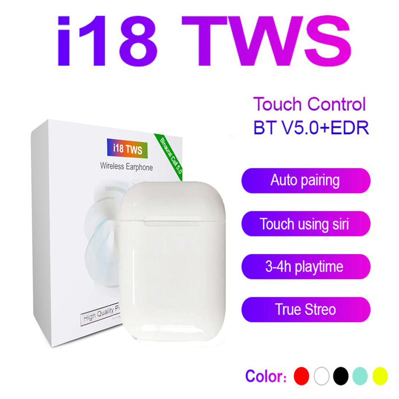 2020 New Original I18 TWS Wireless Earphones Bluetooth Headsets Earbuds Touch Control For All Smart Phone