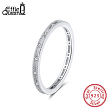 Effie Queen Engagement Female Finger Ring  925 Silver With AAAA Cubic Zircon Ring For Wedding Anniversary Jewelry Gift BR162