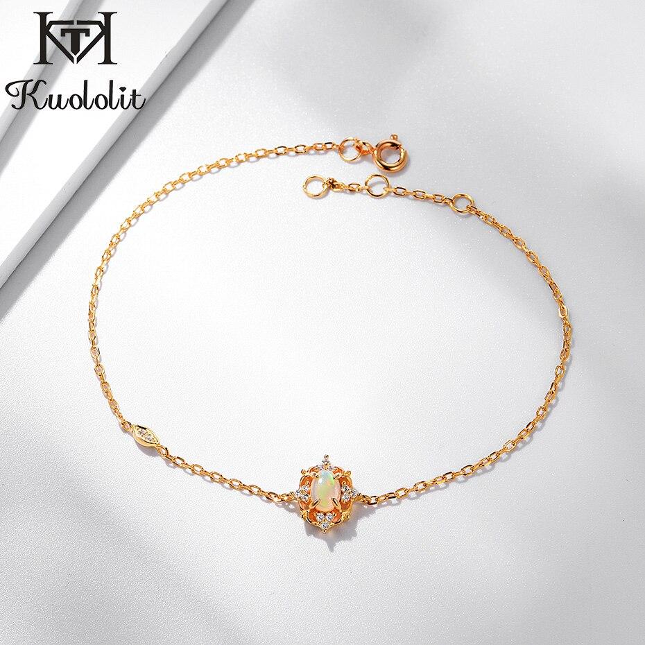 Kuololit 100% Natural Opal Gemstone Bracelets For Women 925 Sterling Silver Jewelry Chain Bracelet for Wedding 585 Fine Jewelry|Bracelets & Bangles|   - AliExpress