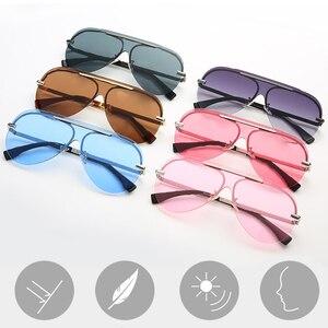 2020 New Letter Mirror One-piece Sunglasses Women Men Trendy Sunglasses Ladies Eyeglasses(China)