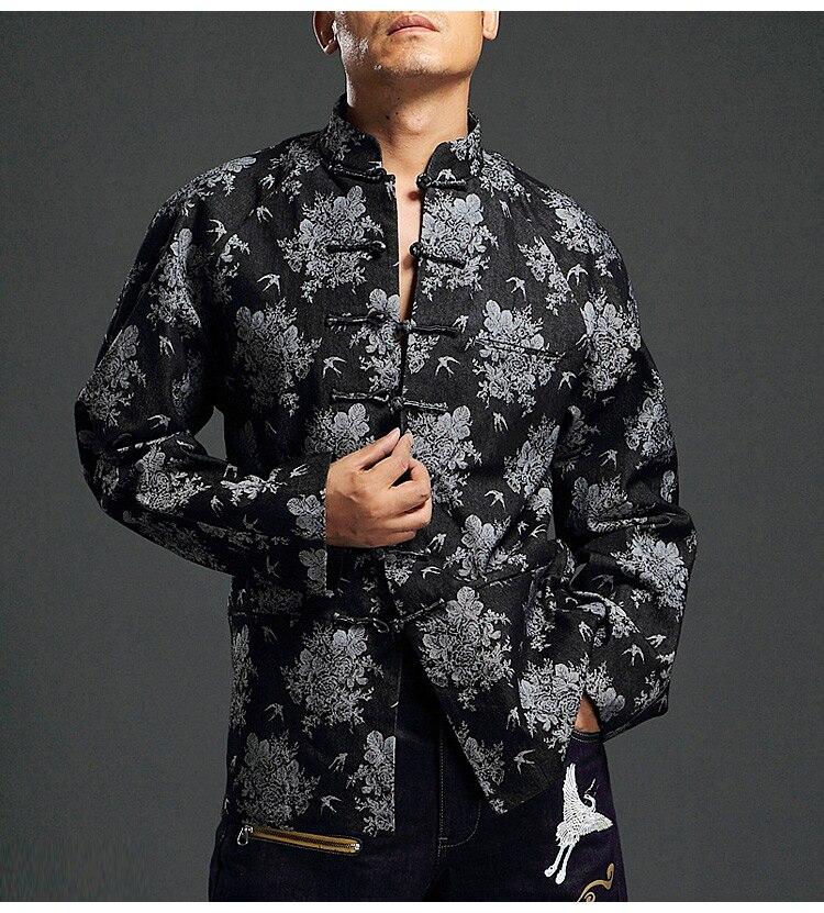 2019 цветочные куртки для мужчин s хлопок Пряжка ветровка мужская хип-хоп Повседневная осенняя куртка пальто плюс размер одежда