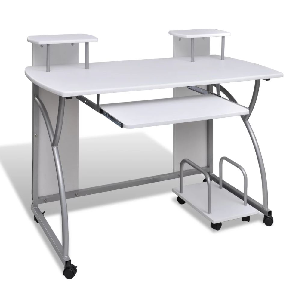 vidaXL Computer Desk with Pull out Keyboard Tray White|Dining Tables| |  - title=