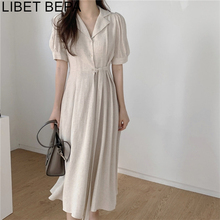 Shirt Dresses Puff-Sleeve Linen Elegant Vintage Cotton Women's Summer DR2109 Draped Lace-Up